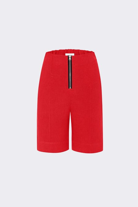 Her Line Exposed Wide Leg Shorts - Heavy Linen - Lava Red
