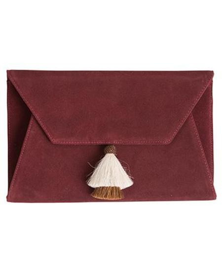 Oliveve Cleo Envelope Clutch In Burgundy Suede Cow Leather