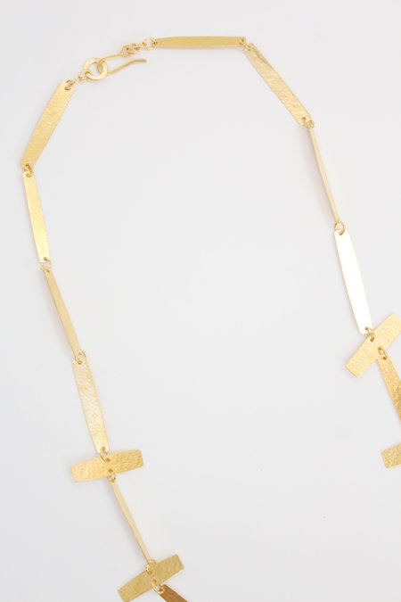 Annie Costello Brown Cross Bar Necklace Gold