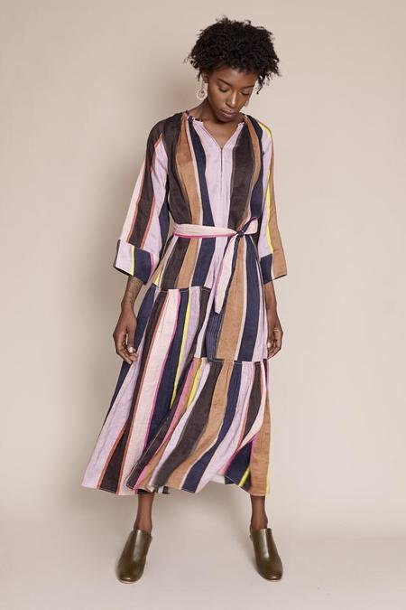 Apiece Apart Stella Shirred Tiers Dress in Big Bright Stripe