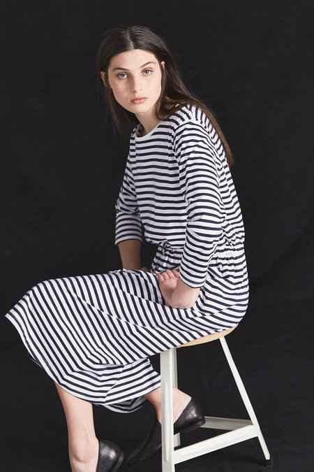 Kowtow Building Block Lounge Dress - Blue/White Stripe