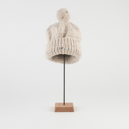 Chamula Thick Double Cuff Cap in Natural Heather