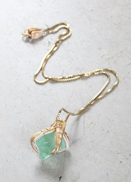 Adina Mills Medium Fluorite Octahedron Necklace on Brass Chain
