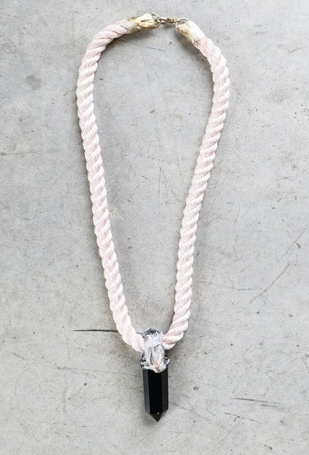 Adina Mills Small Obsidian Pendant Necklace on Pink Rope