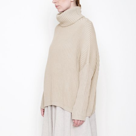 7115 by Szeki Ribbed Turtleneck Sweater - Oatmeal