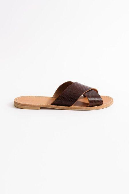 Samuji CROSS STRAP SANDALS in Dark Chestnut