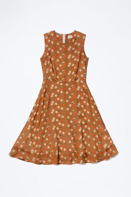 Samuji KENDRA Dress  in Burnt Orange w/ Ecru and Green