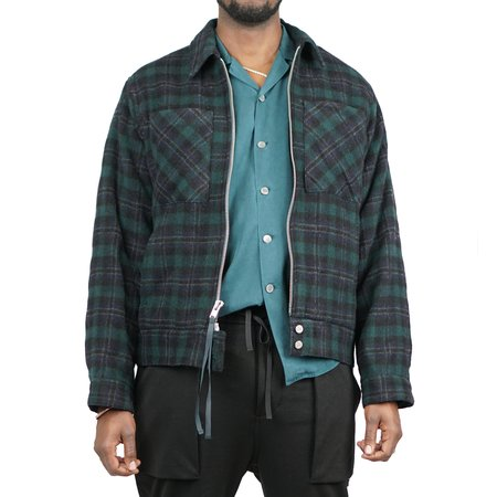 Stampd Commonwealth Plaid Shearling Jacket - Olive