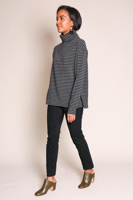 Majestic Stripe Turtleneck in Anthracite Chine/Noir