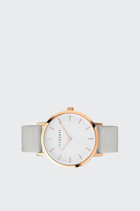 The Horse Original Watch - polished rose gold/white face/grey band