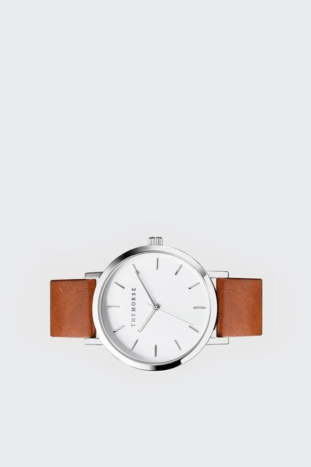 The Horse Original Watch - polished steel/white face/tan leather