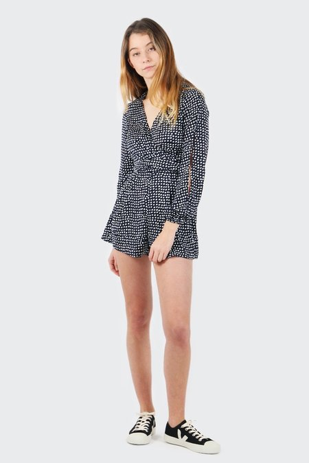 The Fifth Party Next Door Long Sleeve Playsuit - painted polka