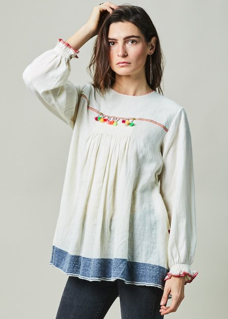 Pero Pleated Wool A-Line Top