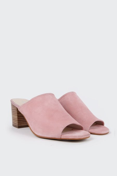 """Intentionally ___________."" Skipper Heeled Slide - Pink suede"