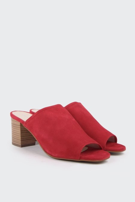 """Intentionally ___________."" Skipper Heeled Slide - Red suede"