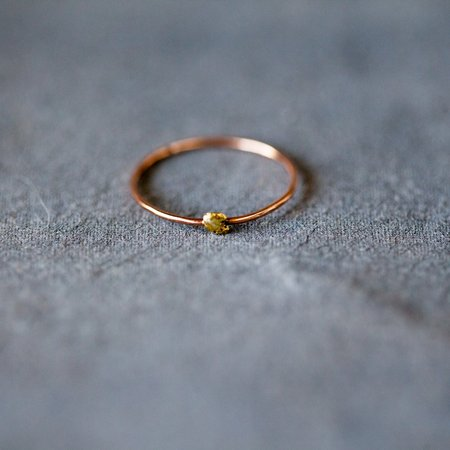 Blair Lauren Brown 14K Rose Gold Band with 24K Gold Nugget Ring
