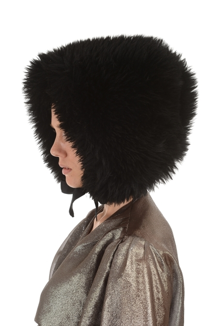 Lindsey Thornburg Black Shearling Bonnet