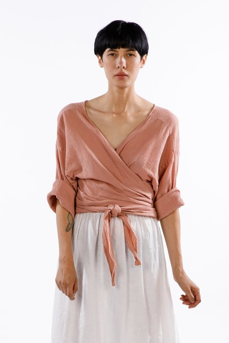 Miranda Bennett Wrap Top Cotton Gauze in Cava
