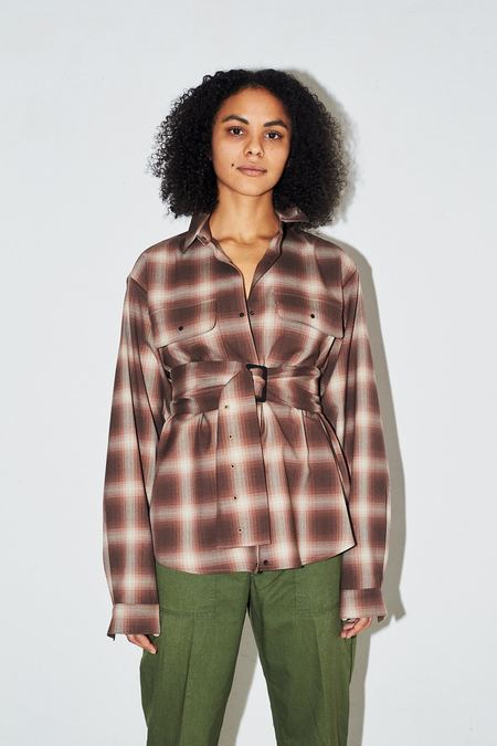 Assembly New York Plaid Poet Shirt - Brown