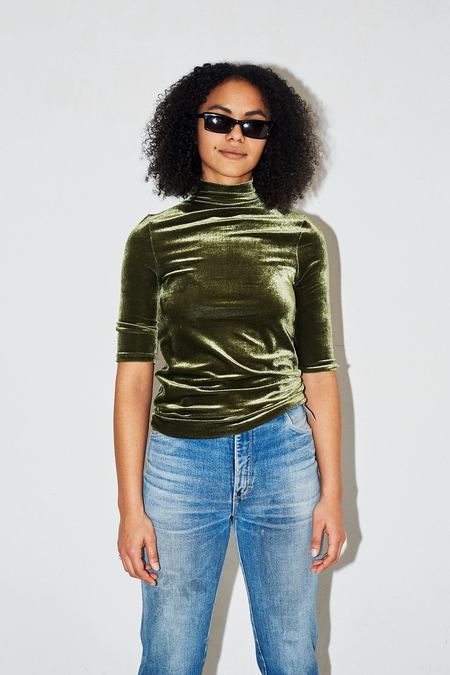 Assembly New York Velvet Mockneck T-Shirt - Green