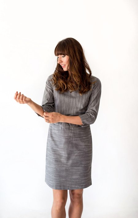 Sunday Supply Co. Caroline Dress - Grey Pinstripe
