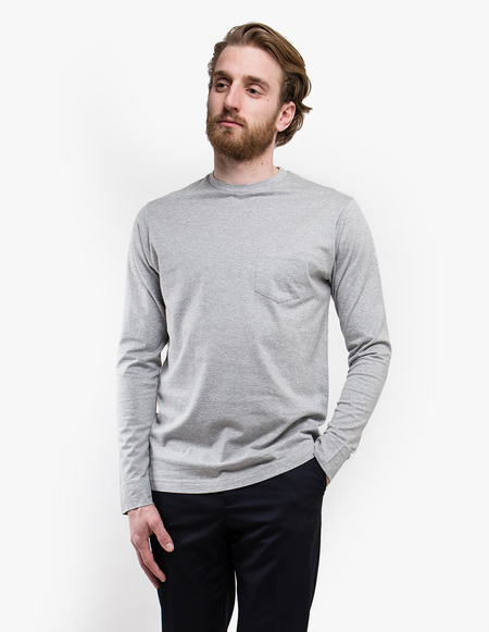 Sunspel 60's Long Sleeve Crew Neck with Pocket - Grey Melange