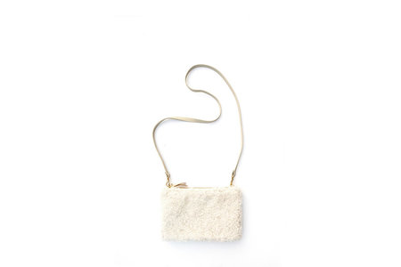 Primecut Ivory Shearling Pouch Purse