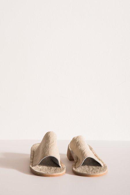 Laura Schoorl Slides with Stack Heel in White
