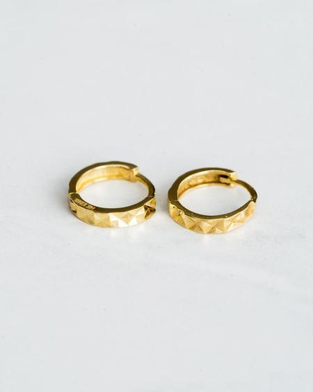 Seldom Seen 14K Mini Faceted Hoops - Yellow Gold