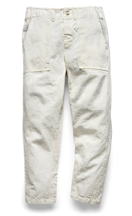 107 Pant in Pearl Herringbone Twill