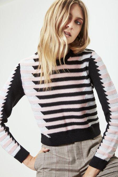 Mila Zovko Natalia Cropped Sweater in Pink/Black/Silver
