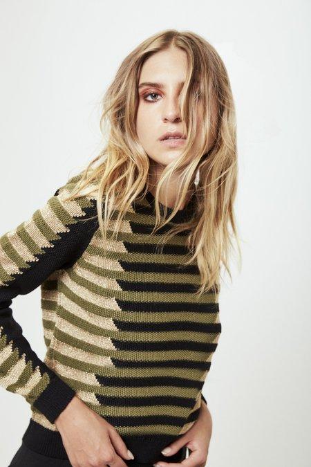 Mila Zovko Natalia Sweater in Olive/Black/Gold
