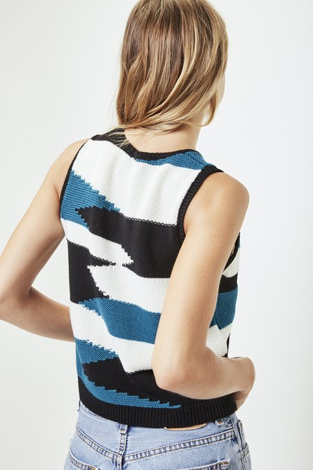 Mila Zovko Nives Knitted Vest in Black/White/Teal