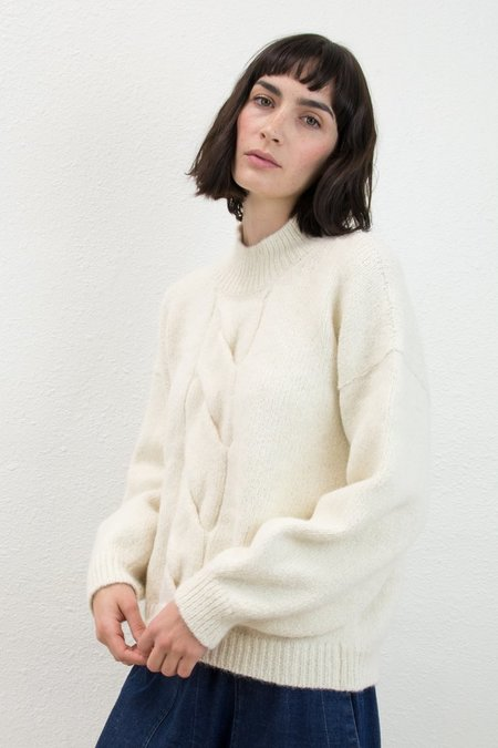 Micaela Greg Cream Twist Cable Sweater
