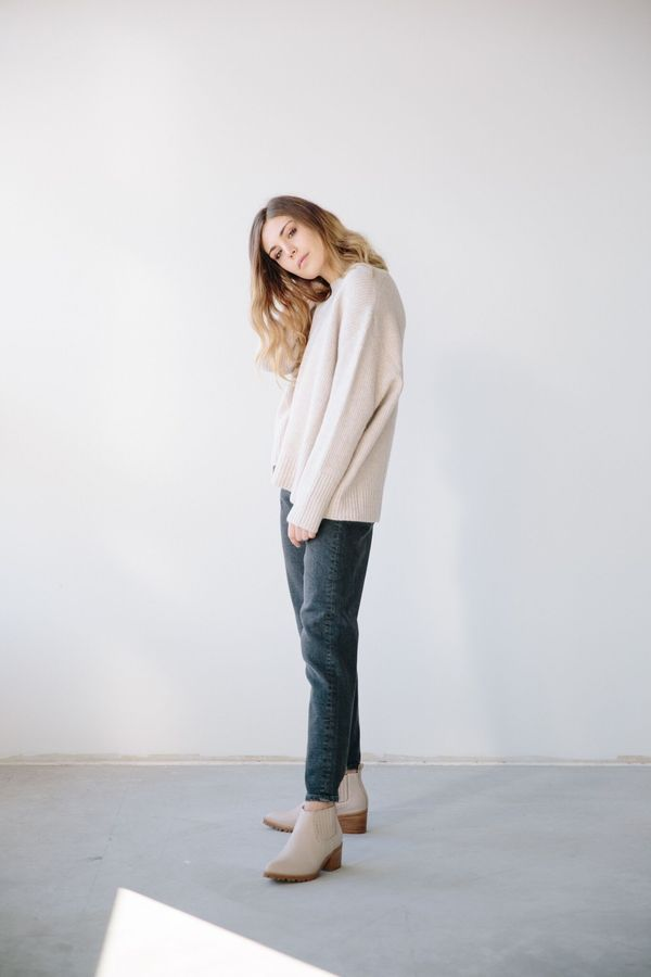 Line The Lable Vaughn Sweater In Soft Blush