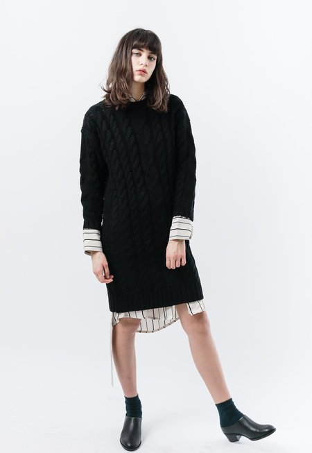 Callahan Braid Sweater Dress - Black
