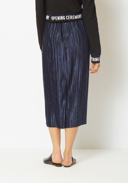 Tibi Navy Plisse Pleated Midi Skirt