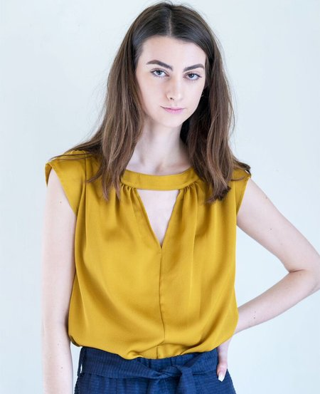 No.6 Shay Silk Top in Hammered Gold