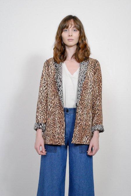 Raquel Allegra Leopard Cotton Reversible Blazer
