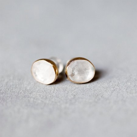 Melissa Joy Manning Moon Stone Post Earring in Silver and 14K Gold