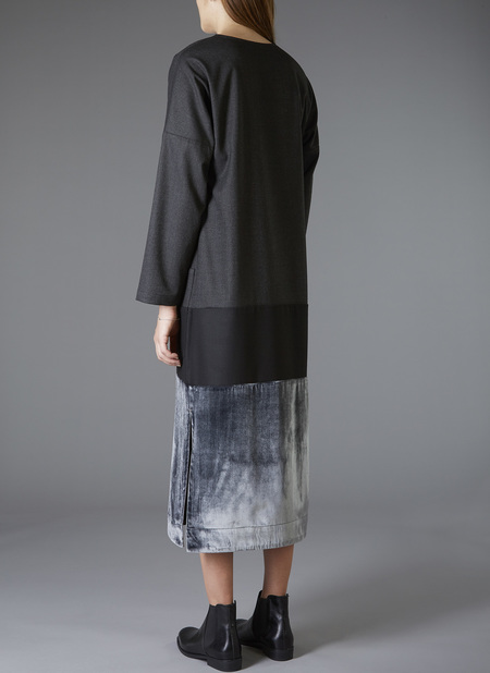 GREI. Velvet Panel Kaftan Dress - Charcoal/Black