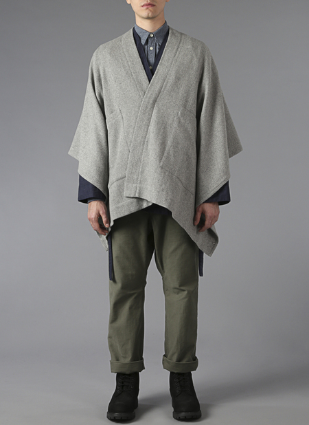 Grei Channel Weave Panel Poncho In Fog