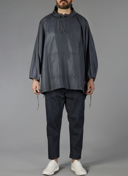 Grei Hooded Poplin Rain Poncho In Charcoal