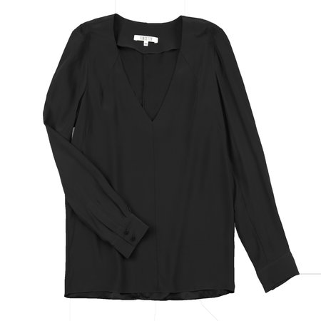 Vincetta V-Neck Blouse - Black