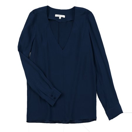 Vincetta V-Neck Blouse - Navy