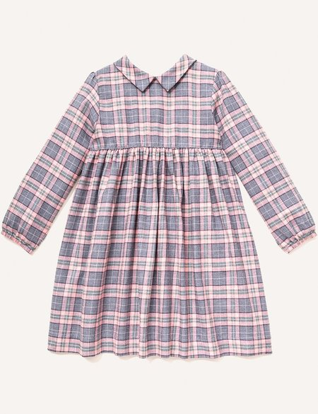 Kids Petits Vilains Clothier Clara Pointy Collar Dress - Pink Plaid