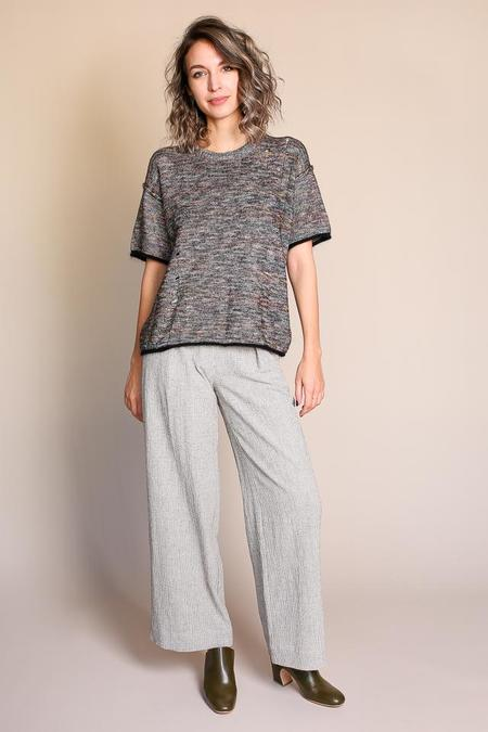 Raquel Allegra Vintage Knit Tee in Black Moonbow