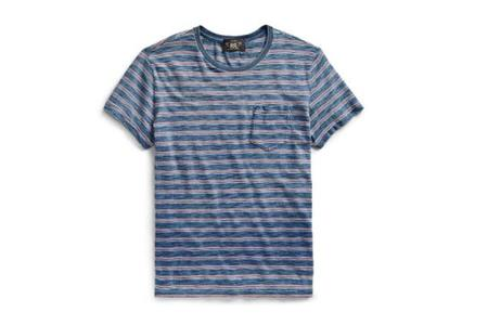 RRL Striped Cotton Pocket T-Shirt