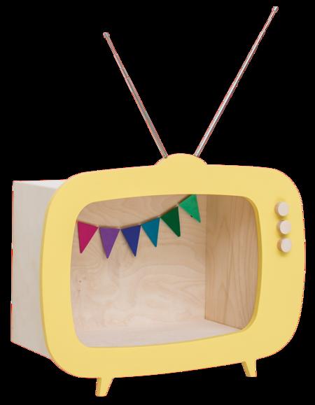 "Kid's Up! Warsaw ""Teevee"" TV Shelf Yellow"
